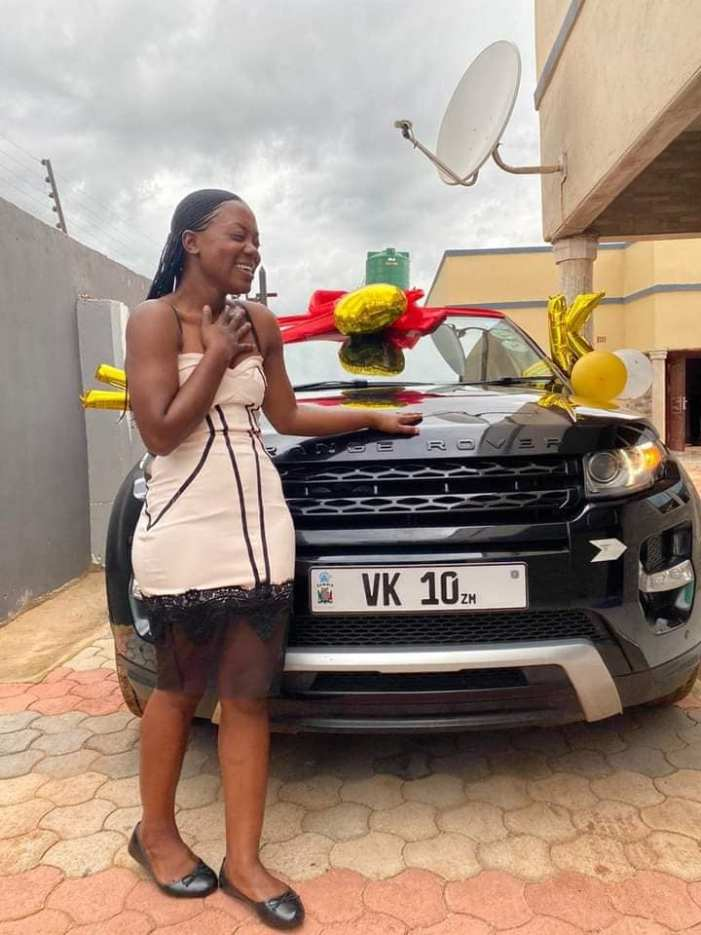 Russia Based Zambian Footballer Evans Kangwa blesses  Wife With Range Rover