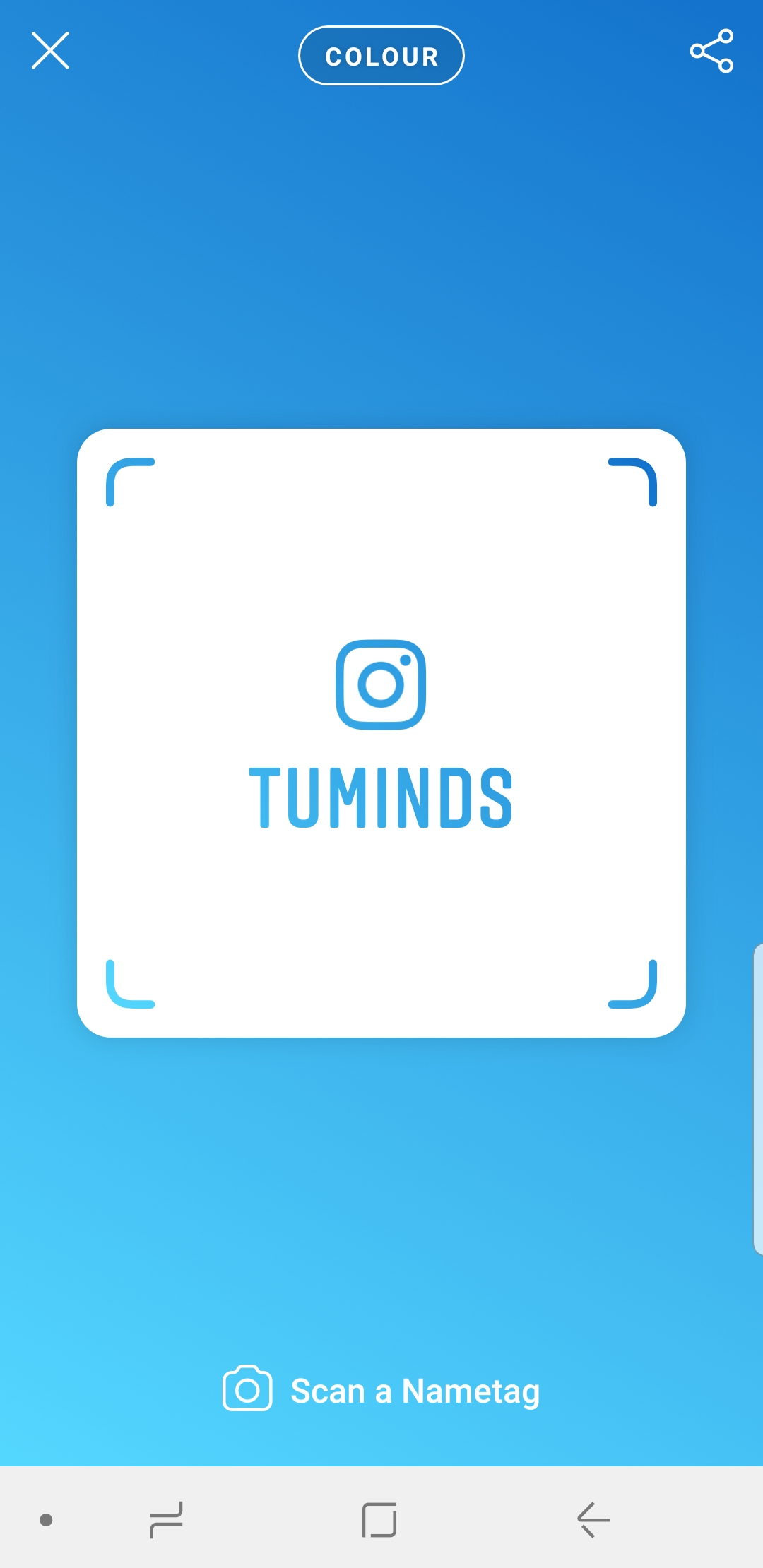 colour background on Instagram Nametag
