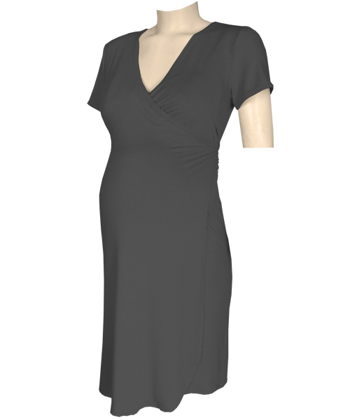 Black Classic maternity crossover wrap dress
