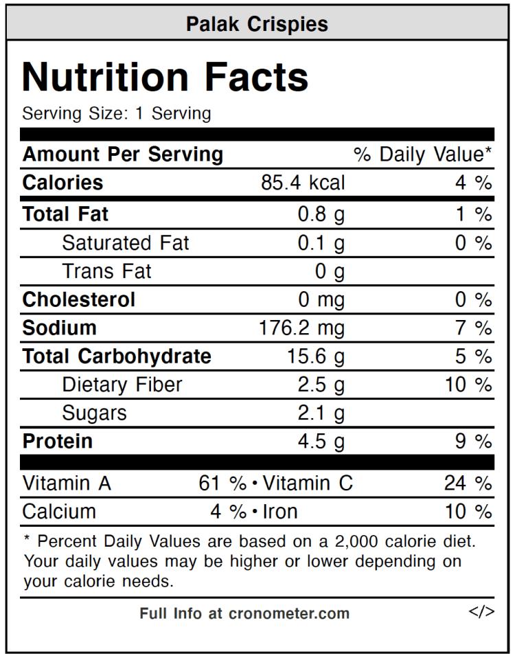 Palak Crispies Nutrition Values