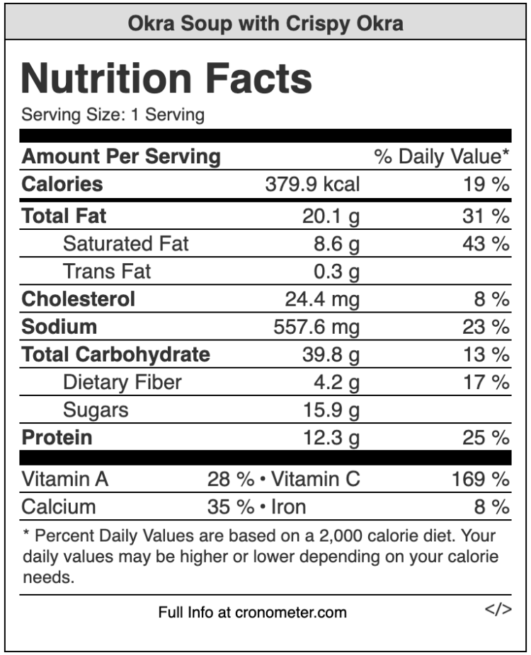 okra soup nutrition values