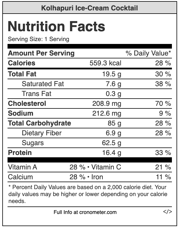 ice cream cocktail nutrition values