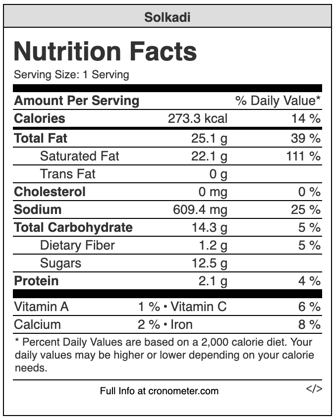 solkadi nutrition values