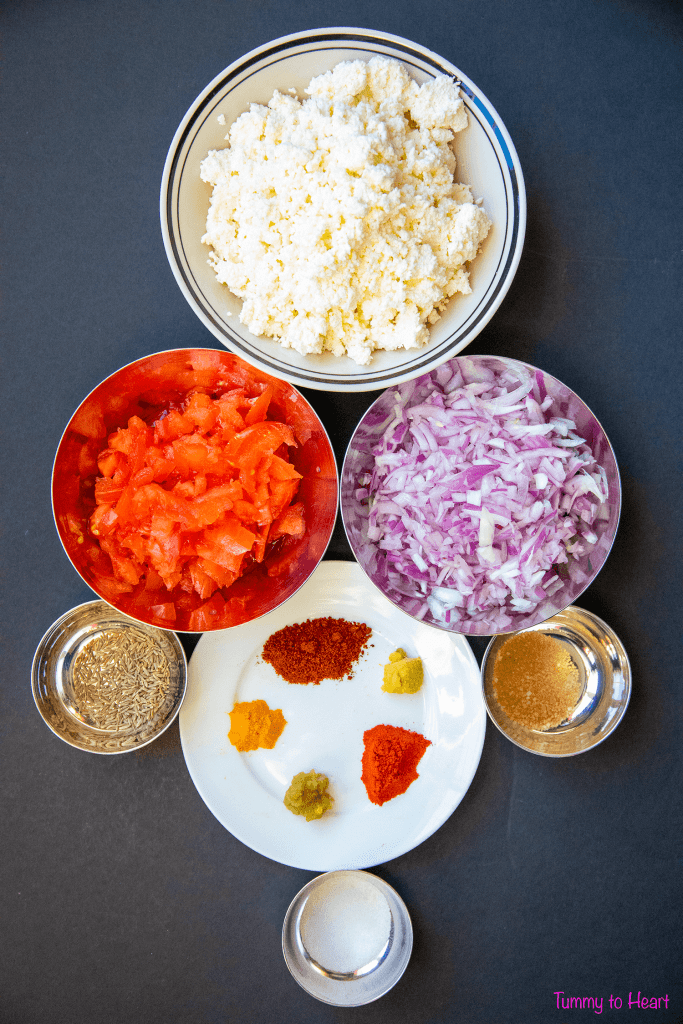 ingredients for cottage cheese stuffing
