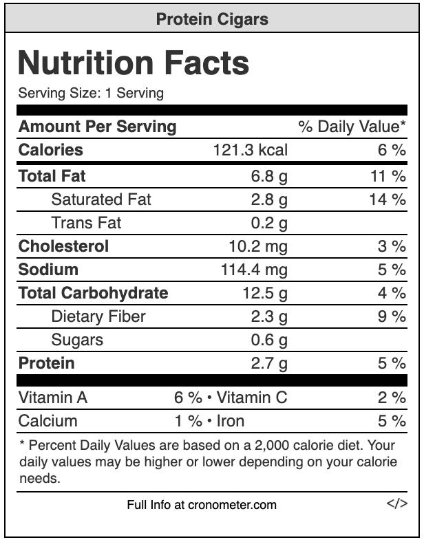protein cigar nutrition value