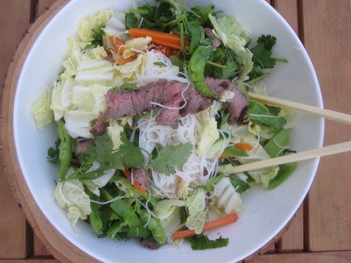 Lemongass Beef and Rice Noodle Salad