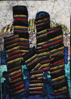 """SOLD: """"Igunnuko Masquerade,"""" batik quilt tapestry"""