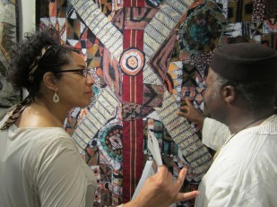 "Detail of ""Universal Peace Lies in Cultural Rearmament"" batik quilt"