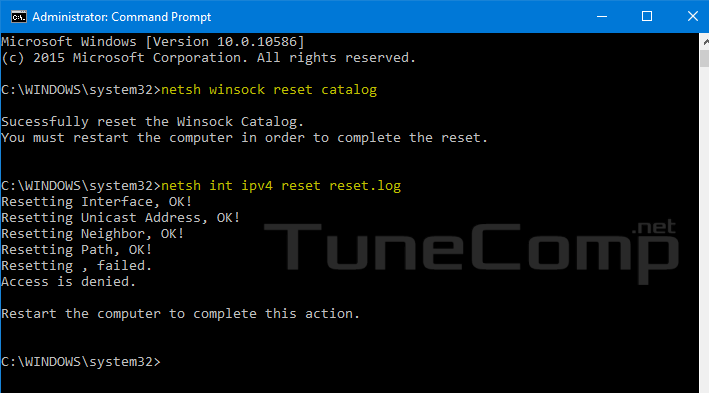 fix wifi limited netsh reset