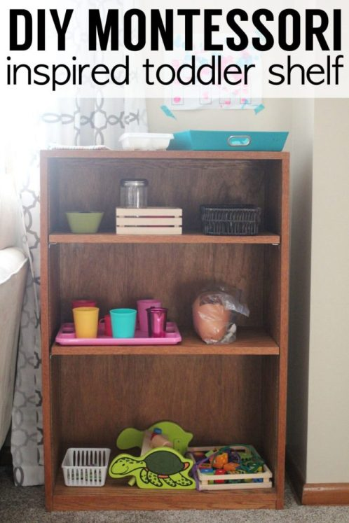 Montessori Inspired Toddler Shelf: a few super simple ideas for a montessori inspired activity shelf for your toddler. No mom guilt allowed. Tunemyheartblog