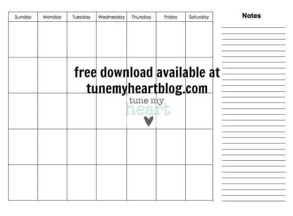 Free Download: Printable Monthly Calendar (for meal planning, or WHATEVER)!