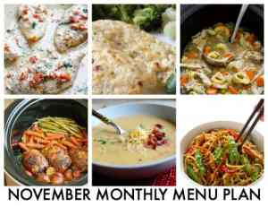 Monthly Menu Plan: November 2016