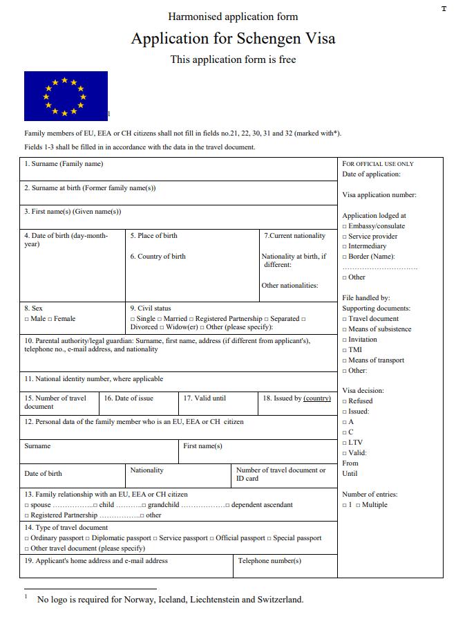 Italy Visa Application Form