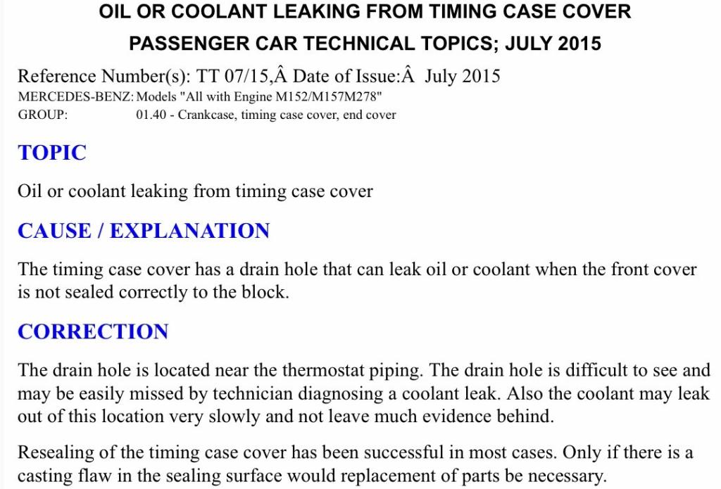 M157 Timing Case Leak