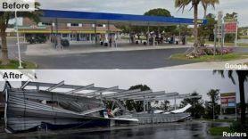 قبل وبعد اجتياح إعصار إيرما في مدينة بونيتا سبرينغز بفلوريدا