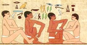 Veggmaleri fra Saqqara-pyramiden i Egypt (2330 f.kr)