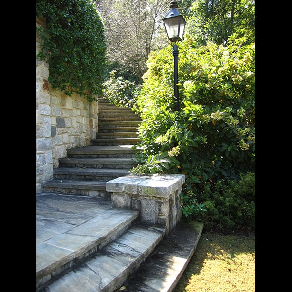 Stone steps at an Atlanta residence, landscape designed by Tunnell and Tunnell Landscape Architecture.