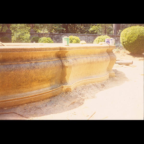 Fountain in the Boxwood Garden at the Swan House in Atlanta, Georgia during construction , historic restoration by Tunnell and Tunnell Landscape Architecture.