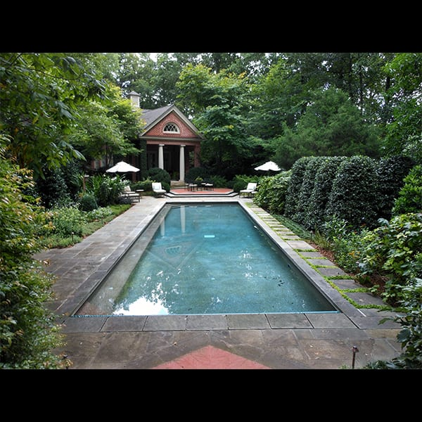 residential pool with perennial planting