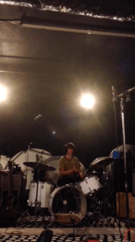 """March 2015: Lucas recording drums for the """"Peaches and Cream"""" EP upstairs at the Laemmle in Pasadena."""