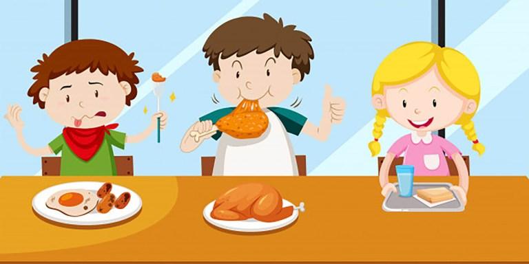 dessin d'enfants mangeant pour illustrer la page de la restauration scolaire du site de la mairie de Tupin et Semons tupinetsemons.fr