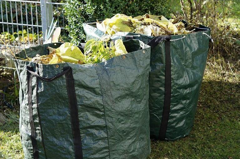 Image de 2 sacs remplis de déchêts verts pour illustrer le texte sur les déchets verts du site internet de la mairie de Tupin et Semons www.tupinetsemons.fr
