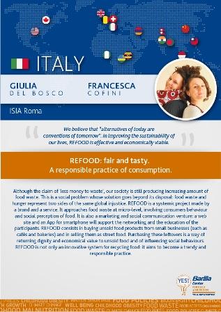 Giulia del Bosco y Francesca Cofini, lanzaron la idea del REFOOD