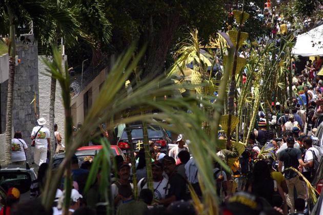 Bajada de Los Palmeros acompañados por una multitud, foto Alcaldía de Chacao
