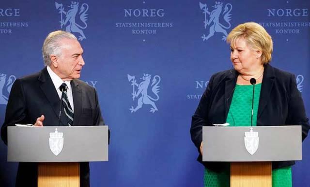 Primera Ministra Erna Solberg y Michel Temer
