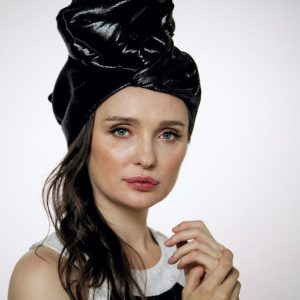 "Black silk shine ""vinyl"" turban hat hijab"
