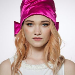 Silk turban hat hijab Fuchsia rose with bow