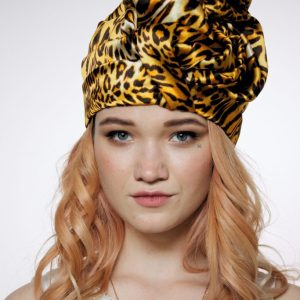 Leopard orange silk turban hat hijab