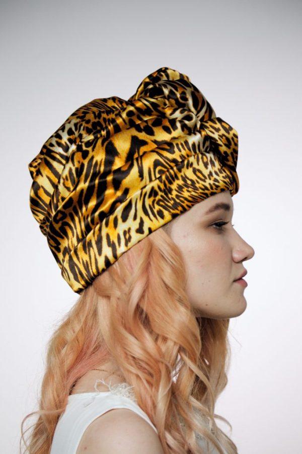 Leopard orange silk turban hat hijab