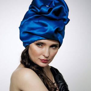 Royal blue silk organza turban hat hijab with a big Pearl bead