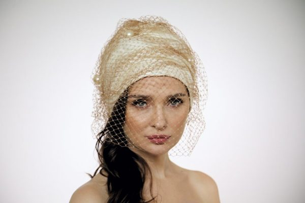 Turban hat hijab with net and Pearls