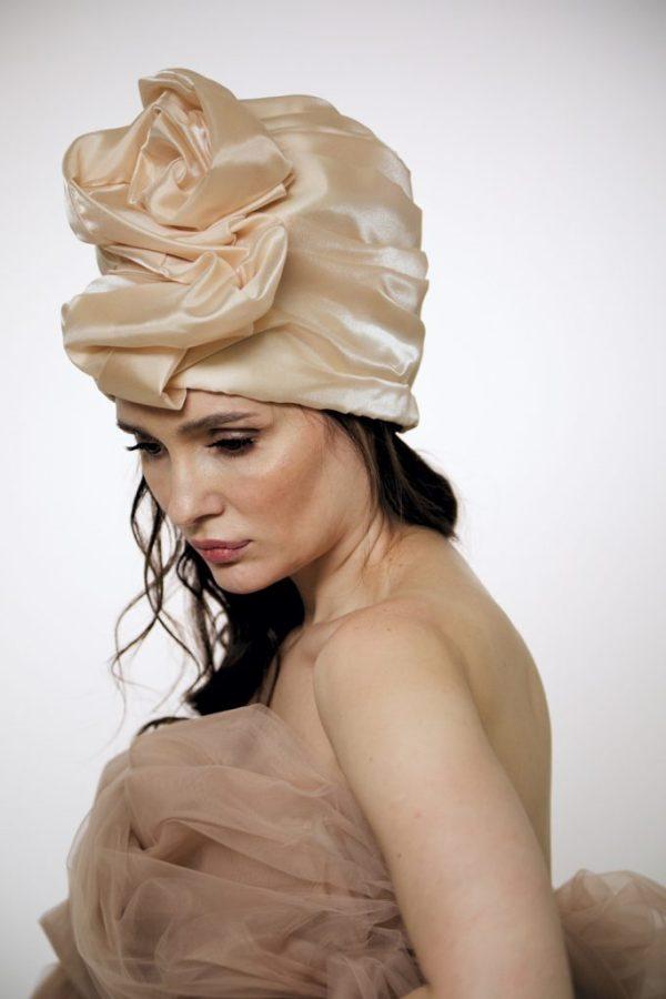 Creme brulee silk organza turban hat hijab with a big Pearl bead