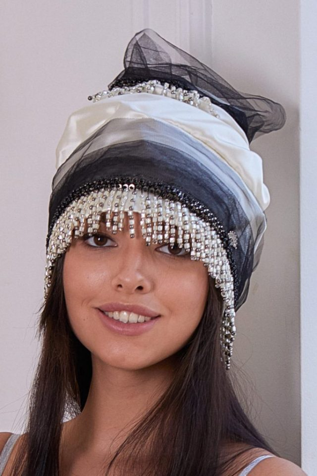 Turban hat hijab of white silk with fatin and beads