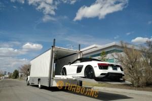 Enclosed Auto Transport loading Audi R8