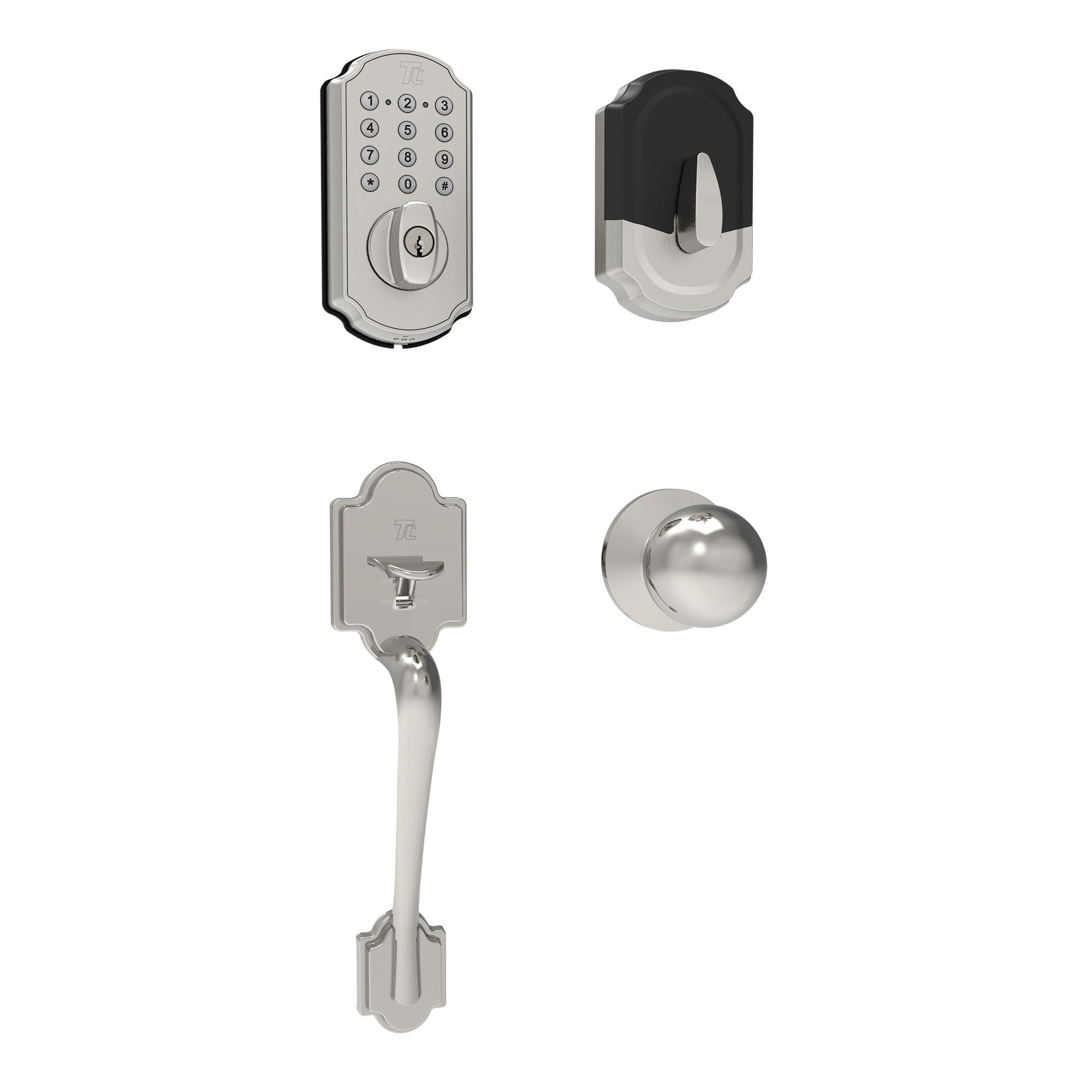 Front Door Lockset Combo Digital Deadbolt With Keypad Tl114 Tl121 Brushed Nickel Turbolock Com