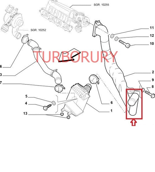 TUBO TURBO MANICOTTO INTERCOOLER FIAT STILO 1.9 JTD