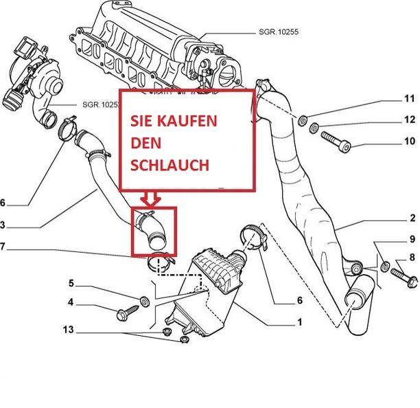 TURBO SCHLAUCH LADELUFTSCHLAUCH ROHR FIAT STILO 1.9 JTD