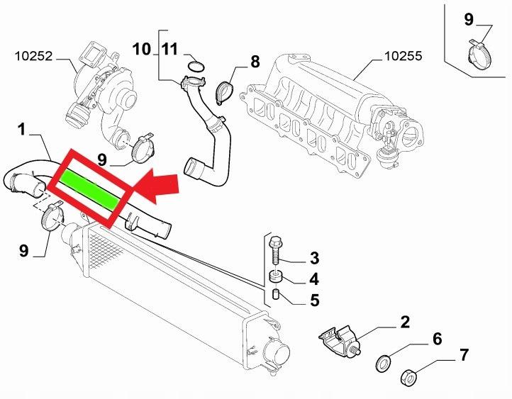 TURBO SCHLAUCH LADELUFTSCHLAUCH FIAT BRAVO II 1.4 TRB, 1.6