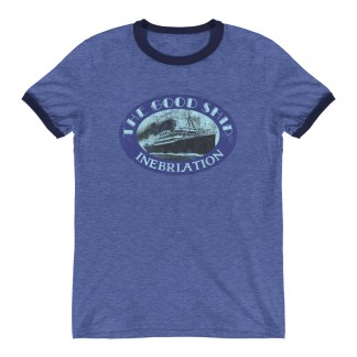The Good Ship Inebriation Funny Ringer T-Shirt (blue)