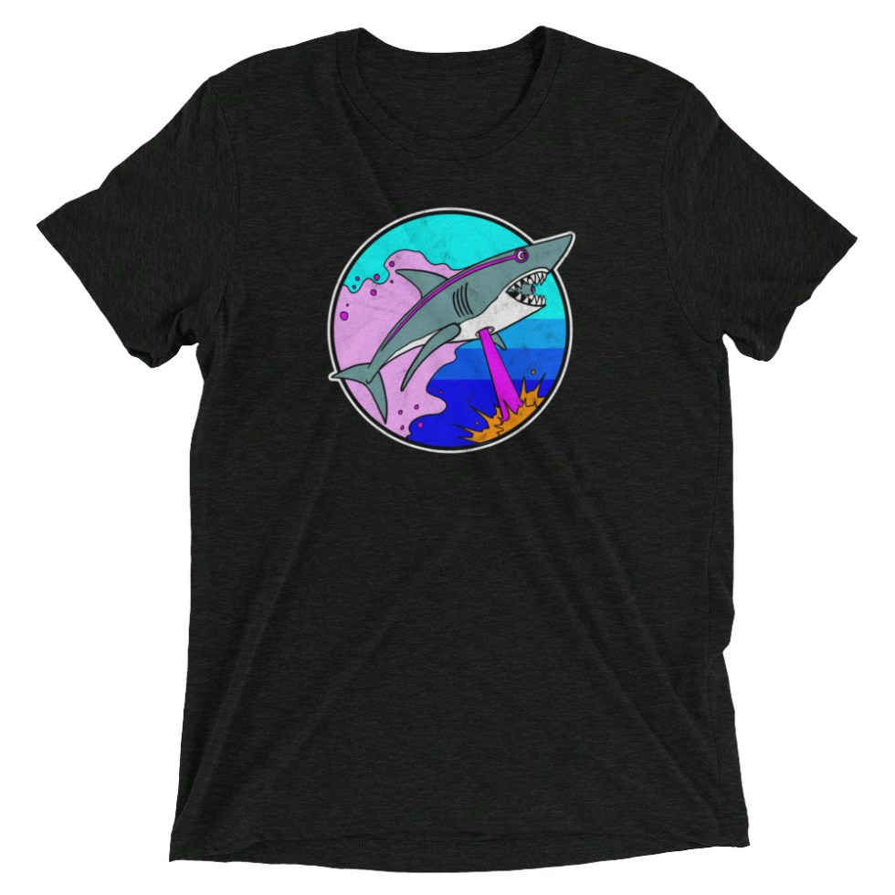 Retro Laser Shark T-Shirt | Premium Tee (black)