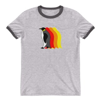 Moving Retro 1970s-Style Penguin Ringer T-Shirt (grey)