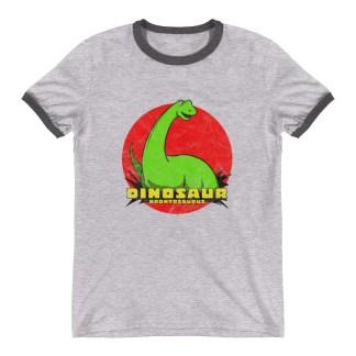 Retro Brontosaurus T-Shirt Vintage Dinosaur Ringer T-Shirt (grey)