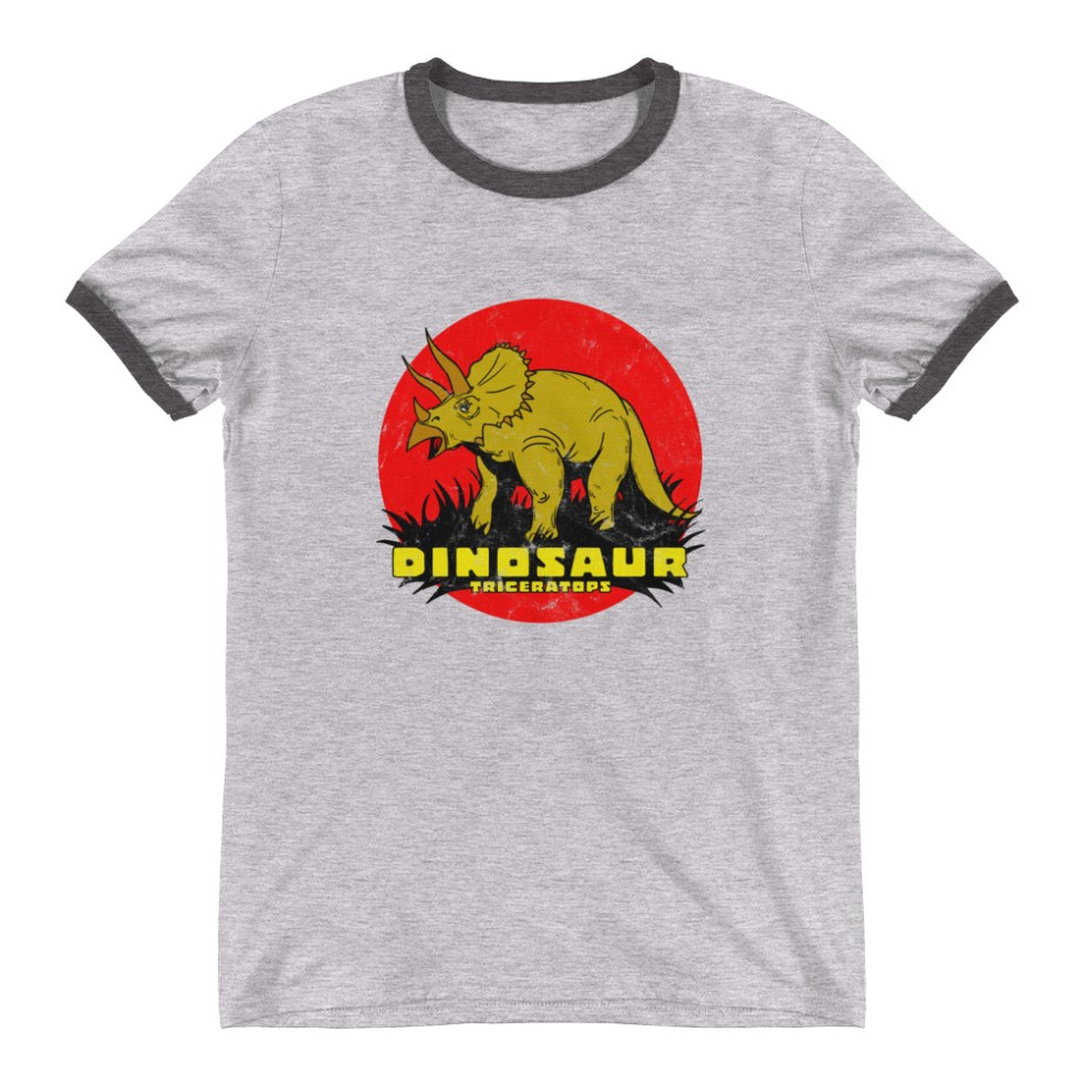 Retro Triceratops Ringer T-Shirt by Turbo Volcano (Grey)