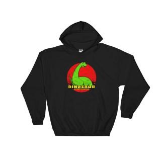 Retro Brontosaurus Hoodie Vintage Dinosaur Design Hooded Sweatshirt (black)