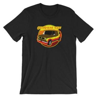 Retro 70s Custom Van T-Shirt by Turbo Volcano (Black)