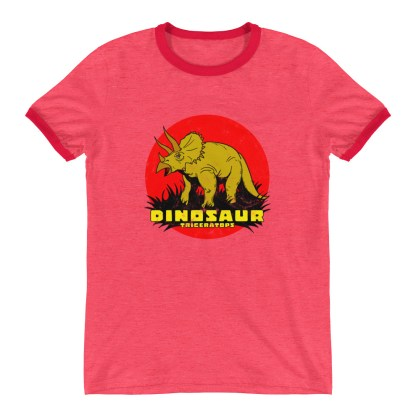 Retro Triceratops Ringer T-Shirt by Turbo Volcano (Red)